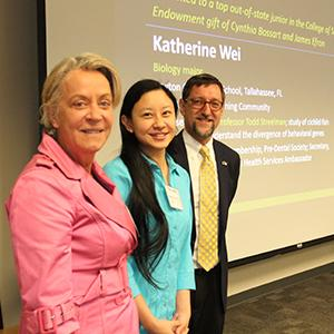 Cynthia Bossart (left), Katherine Wei, and Dean Goldbart (Photo by Renay San Miguel)