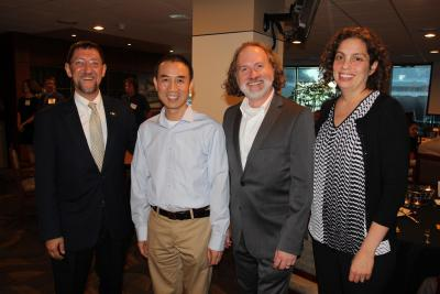 Paul Goldbart (from left) with 2017 Faculty Mentor Awardees Ronghua Pan, John Etnyre, and Raquel Lieberman (Photo by Renay San Miguel)