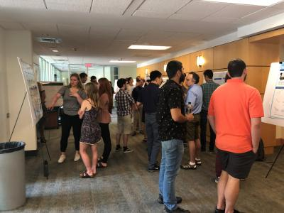 Undergraduates present their research during the School of Math's Summer REU 2019 poster session (Photo by Yasmine Bassil)