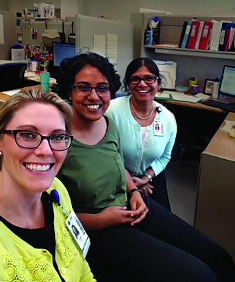 Project leader Kirthana Hampapur (center) with Kristin Goin (left) and Meena Iyer of Shepherd Center