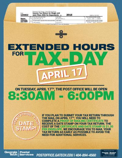 Tax Day Post Office Extended Hours 2018