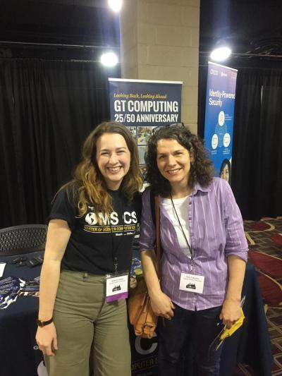 Brittany Aiello, OMSCS Communications, and Tina Fatouros, OMSCS student and WiCyS scholarship attendee
