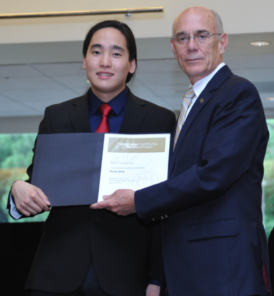Charles Wang with Provost Rafael Bras