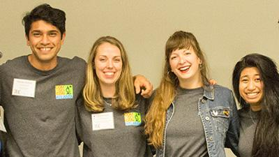 ComSciCon-Atlanta Organizers (from left) Anzar Abbas, Laura Mast, Kellie Vinal, and Carleenmae Sabusap