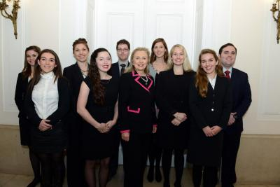 Hillary Clinton with INTA Students Griffeth and Olney
