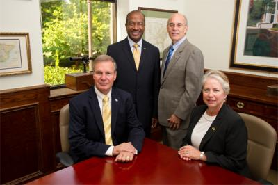 "(Clockwise) President ""Bud"" Peterson, Dean Gary May, Provost Rafael Bras, and ISyE School Chair Jane Ammons"