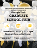 Information on the 2019 Graduate School Fair over a photo from a Georgia Tech graduation ceremony.