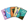Five cards with different characters, two men, two women, and one emu, are spread out from left to right.