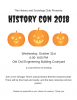 Flyer with the information for the 2018 History Con with 3 jack-o-lanterns