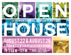 Flyer for OIE's International Opportunities Open Houses. Flyer is composed of different study abroad photos that are washed out with green, purple, teal, yellow, royal blue, pink, and orange colors.