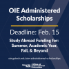 OIE Administered Scholarships Flyer for the February 15 Deadline