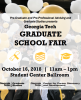 Flyer for the Gt Graduate fair on October 16, overlaid on a picture of students at commencement.