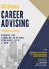 Atlanta skyline overlaid with info on career advising