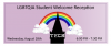 "Black silhouette of tech tower in front of a rainbow. ""Tech"" written on the tower in white."