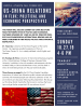 US and Chinese flags with information on a forum to be held at Agnes Scott