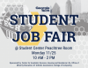 Advertisement for the 2019 Student Job Fair on 11/25 in the student center.