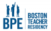 "Outline of three children over the letters ""BPE"" and the words Boston Teacher Residency"