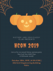 dark background with orange webs and pumpkins advertising the 2019 History Con.