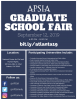 Blue flier with information on the APSIA graduate school fair.