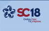 "Supercomputing Logo: SC18 with blue background and dark blue star on the left with text that reads ""HPC Inspires"""
