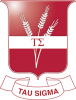 red badge with wheat behind a band with the greek letters tau and sigma. underneath is a banner reading tau sigma.