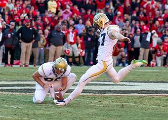 Butker's game-tying kick against UGA in 2014 (photo credit: Georgia Tech Athletics)