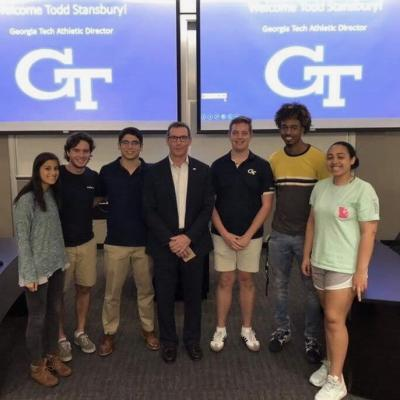Members of the Sports Business Club with Georgia Tech Athletic Director Todd Stansbury