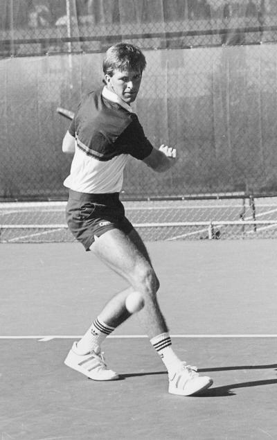 Kenny Thorne on the tennis court for the Yellow Jackets in the late eighties