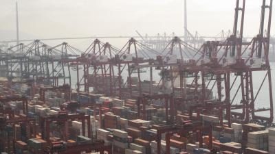 Picture of the Modern Terminal Port in Hong Kong