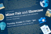 "various academic icons surround the words ""Minor Fair and Showcase"""
