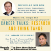 Flyer for a panel in careers in research and think tanks from the Sam Nunn School of International Affairs