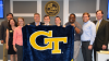Brookhaven shows GT spirit at a recent City Council meeting.  From left: Councilmember John Park, Councilmember Linley Jones, Kelsey Waidhas, Mayor John Ernst, Professor Gary Cornell, Ian Michael Rogers, Christopher McIntosh, Michael Smith and Councilmember Bates Mattison.
