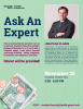 Advertisement for the ask an expert event on financial literacy hosted by Health Initiatives.
