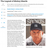 Screenshot of a news website with an article on Mickey Mantle and a photo of a magazine cover with his face on it.