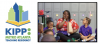Logo for KIPP Atlanta Metro and photo of teacher with students