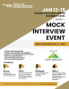 Flyer for the January 2020 mock interviews with information about the event and how to sign up via CareerBuzz