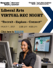"A woman with a headset and a video came controller sits in front of a computer screen smiling at the camera. The text reads ""Liberal Arts Virtual REC Night (Recruit, Explore Connect) on March 1, 2021 from 2-4 pm"" and the image contains a hyperlink to register."