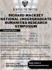 A photo of a library serves as a backdrop for information on the Richard Macksey National Undergraduate Humanities Research Symposium. Information on the symposium can be found at mackseysymposium.org.