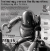 An illustration of a robot destroying a city advertises a discussion of technology versus the humanities on February 16, 2021.