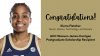 Kierra Fletcher in basketball uniform. The text is congratulating her for winning an ACC postgraduate scholarship