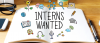 "Image of an open book with the text ""Interns Wanted"" printed on it."